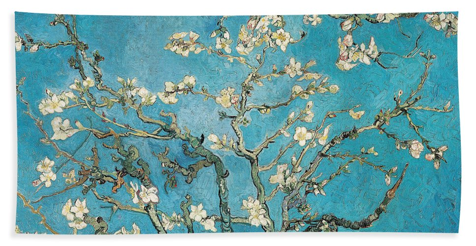 Van Hand Towel featuring the painting Almond Branches In Bloom by Vincent van Gogh