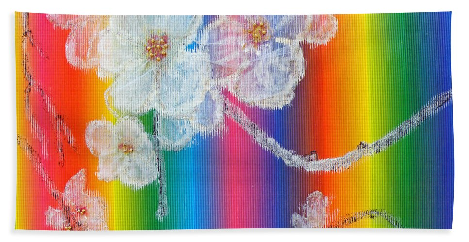 Augusta Stylianou Hand Towel featuring the painting Almond Flowers On Spectrum by Augusta Stylianou