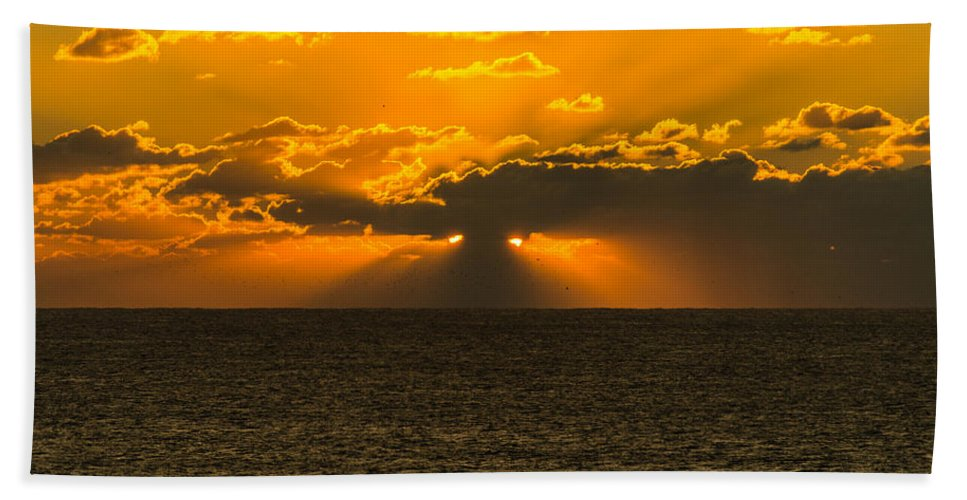 Sunset Hand Towel featuring the photograph Almost Hidden Sunset by Alexandre Martins