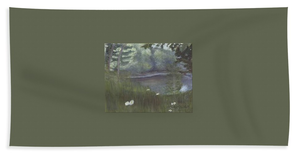 Landscape Bath Towel featuring the painting Almost by Sheila Mashaw
