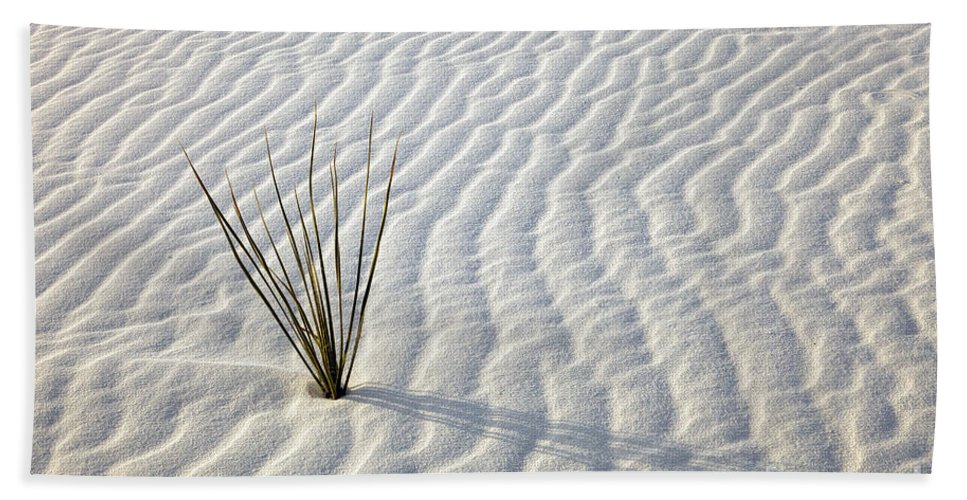 White Sands Hand Towel featuring the photograph Alone In A Sea Of White by Mike Dawson