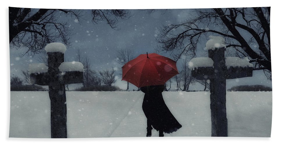 Woman Bath Sheet featuring the photograph Alone In The Snow by Joana Kruse