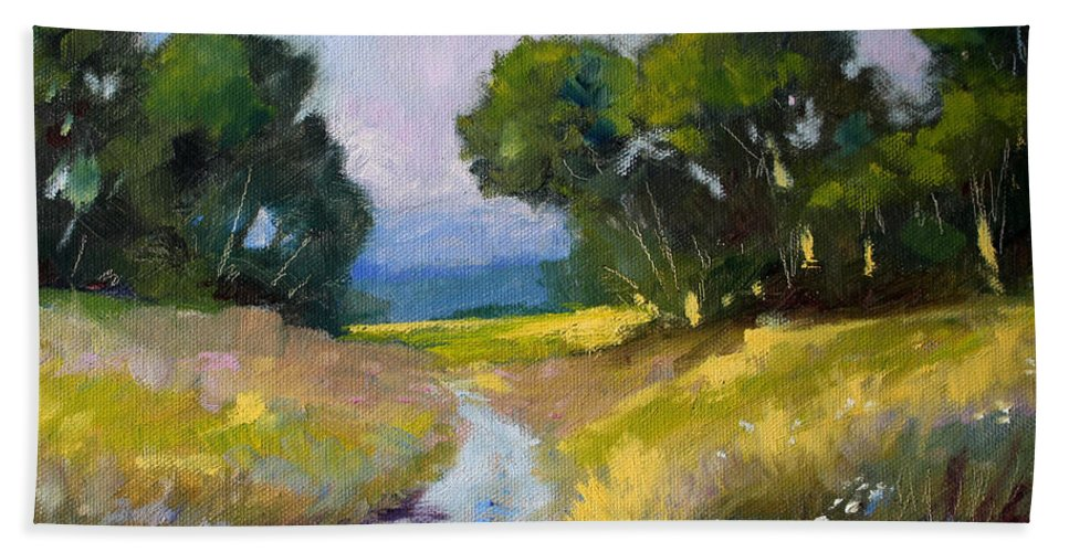 Oregon Hand Towel featuring the painting Along A Country Road by Nancy Merkle
