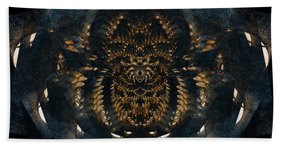 Abstract Bath Sheet featuring the digital art Along Came A Spider by Colette Panaioti
