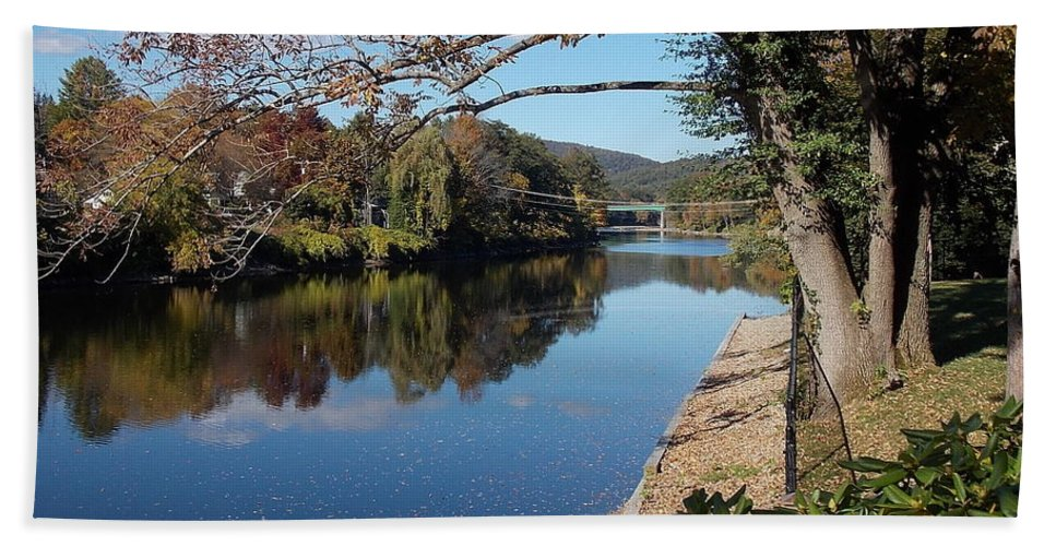 Along Bath Sheet featuring the photograph Along The River In Shelbourne Falls by Nina Kindred