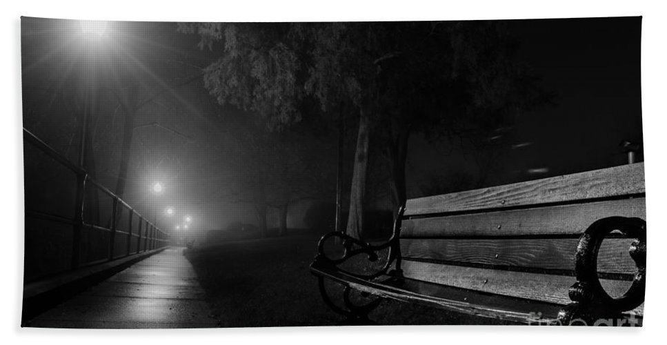 Bench Hand Towel featuring the photograph Along The River Walk by Michael Arend