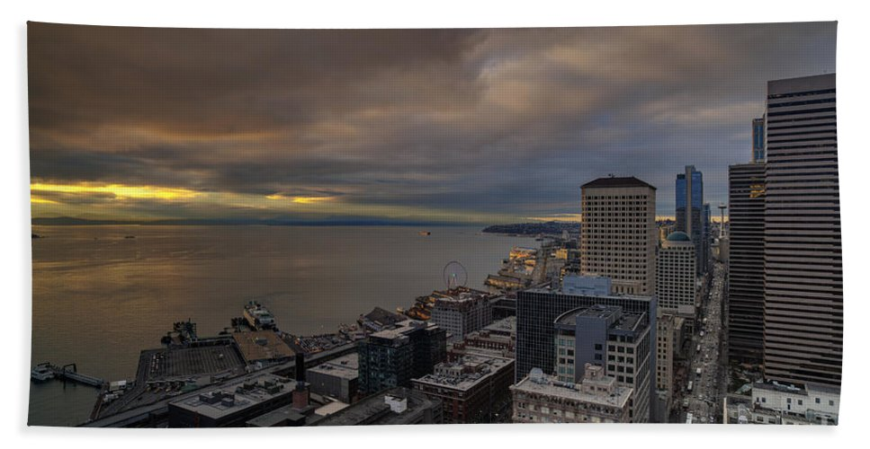 Elliott Bay Hand Towel featuring the photograph Along The Seattle Waterfront by Mike Reid
