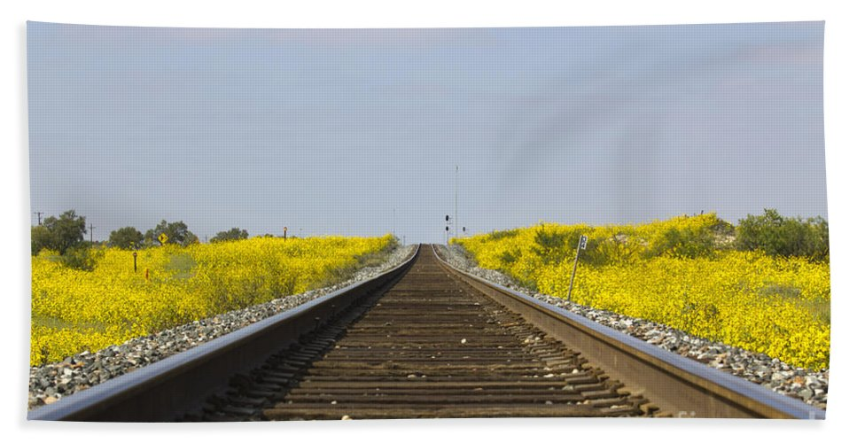 Train Bath Sheet featuring the photograph Along The Tracks by Alycia Christine