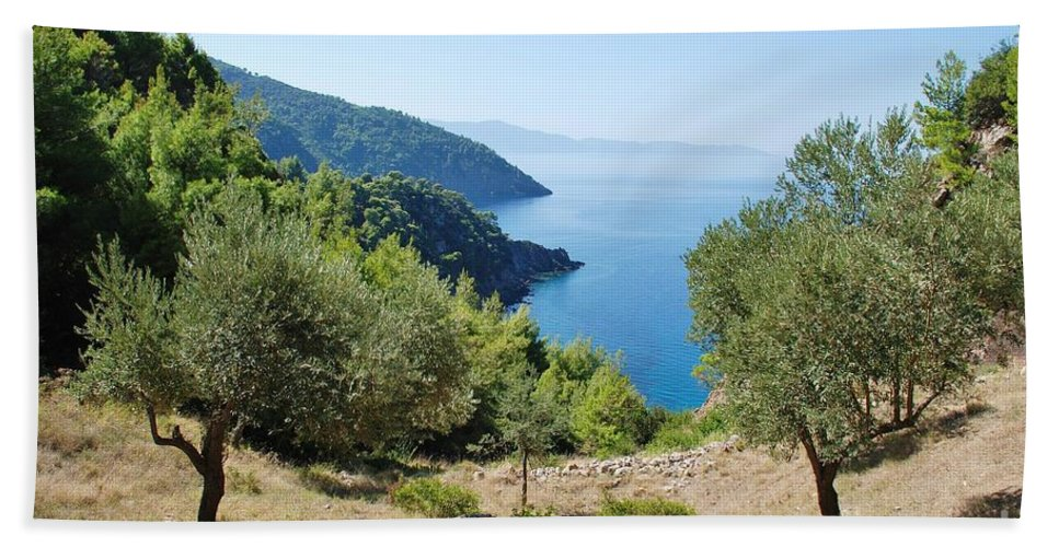 Alonissos Hand Towel featuring the photograph Alonissos Island by David Fowler
