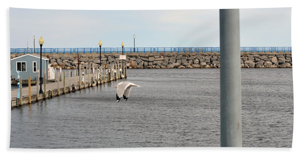 Alpena Michigan Hand Towel featuring the photograph Alpena Harbor by Linda Kerkau