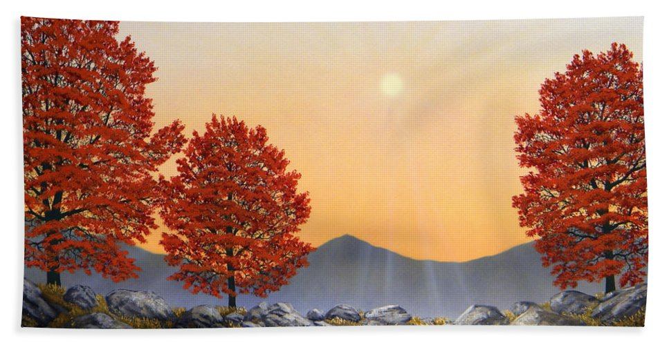 Mountains Hand Towel featuring the painting Alpine Meadow II by Frank Wilson