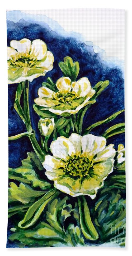 Alpine Ranunculus Hand Towel featuring the painting Alpine Ranunculus by Zaira Dzhaubaeva