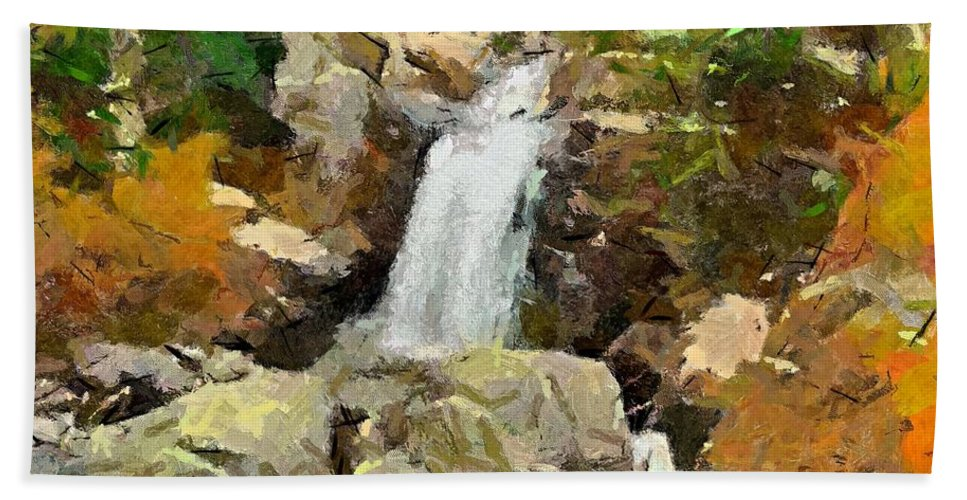 Season Hand Towel featuring the painting Alpine Torrent by Dragica Micki Fortuna