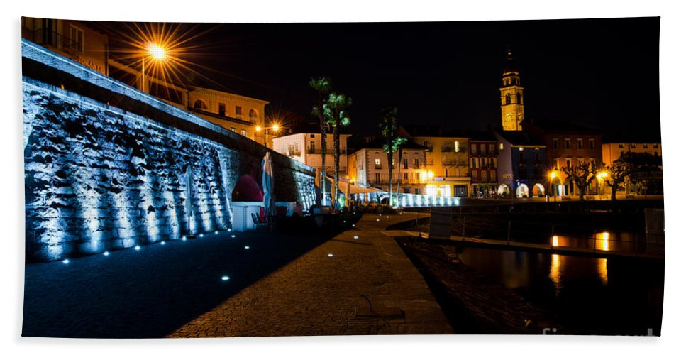Village Hand Towel featuring the photograph Alpine Village At Night by Mats Silvan