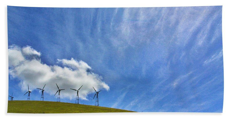 Landscape Bath Sheet featuring the photograph Altamont Windmills by Mark Robert Bein