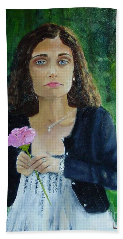 Portrait Bath Towel featuring the painting Aly by Laurie Morgan