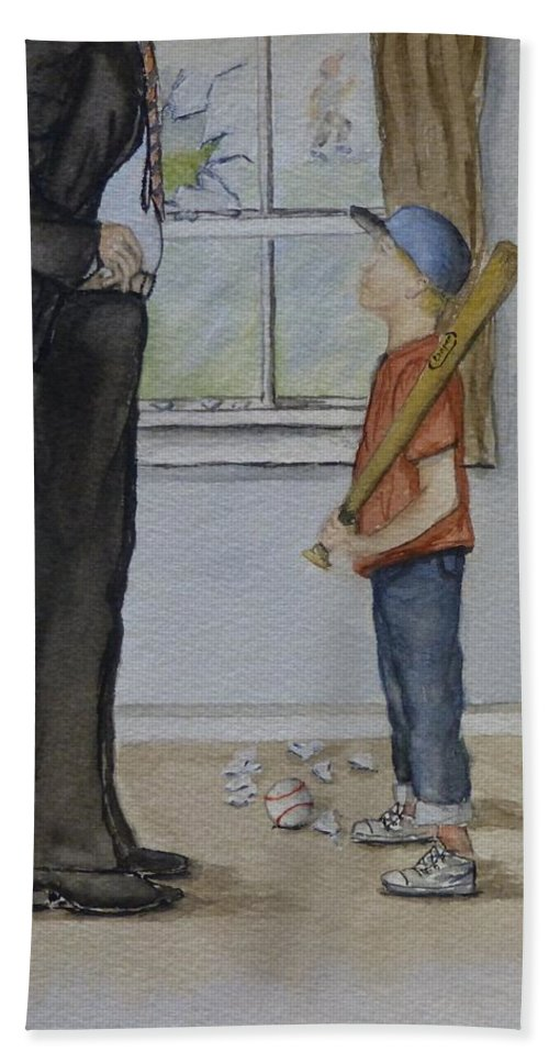 Baseball Hand Towel featuring the painting Am I In Trouble Dad... Broken Window by Kelly Mills