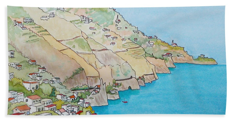 Landscape Bath Sheet featuring the painting Amalfi Coast Praiano Italy by Mary Ellen Mueller Legault
