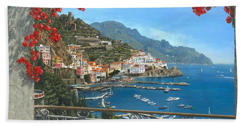 Landscape Hand Towel featuring the painting Amalfi Vista by Richard Harpum