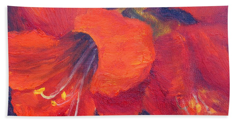 Amaryllis Flower Bath Towel featuring the painting Amaryllis Flower by Carolyn Jarvis