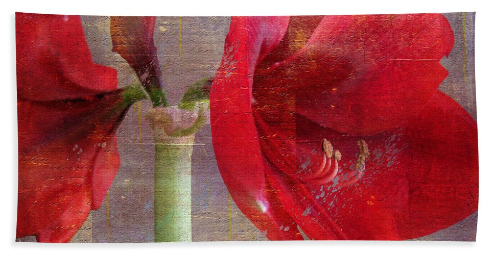 Amaryllis Hand Towel featuring the photograph Amaryllis In The Rough by Larry Bishop