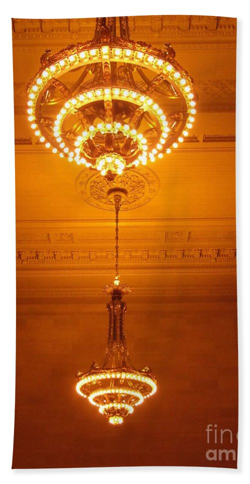Grand Central Hand Towel featuring the photograph Amazing Antique Chandelier - Grand Central Station New York by Miriam Danar