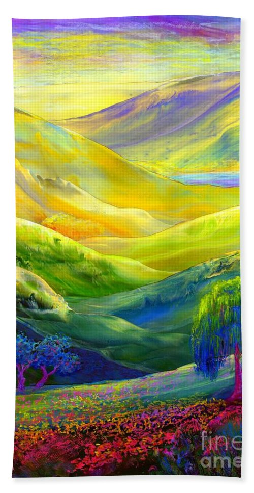 Meadow Hand Towel featuring the painting Wildflower Meadows, Amber Skies by Jane Small