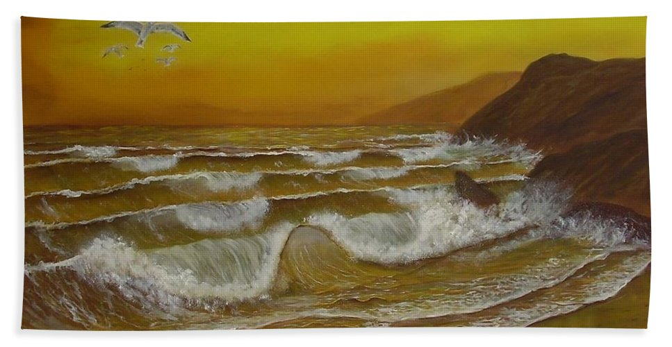 Seascape Bath Sheet featuring the painting Amber Sunset Beach Seascape by Gianluca Cremonesi