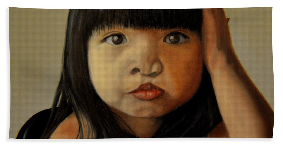 Children Paintings Hand Towel featuring the painting Amelie-an 5 by Thu Nguyen