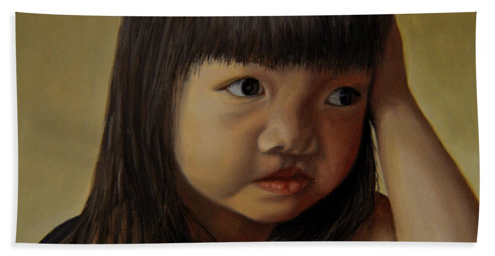 Children Paintings Bath Sheet featuring the painting Amelie-an 8 by Thu Nguyen