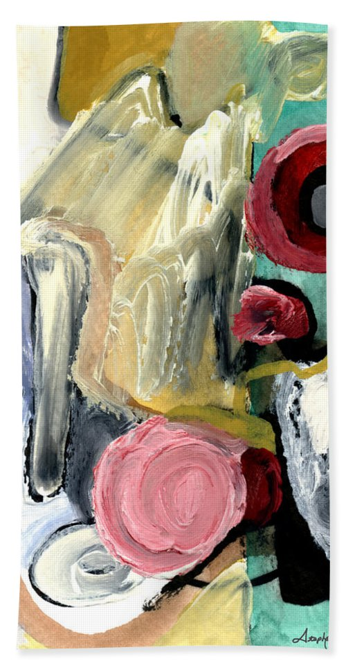 Abstract Art Hand Towel featuring the painting American Beauty by Stephen Lucas