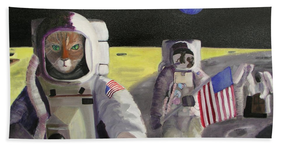 Astronauts Hand Towel featuring the painting American Cat Astronauts by Gail Eisenfeld