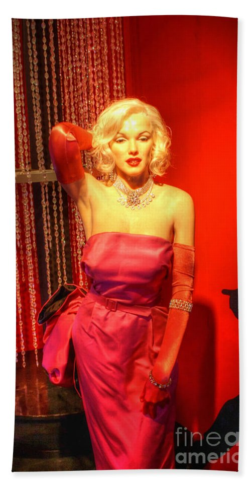 Blonde Hand Towel featuring the digital art American Cinema Icons - Norma Jean by Dan Stone