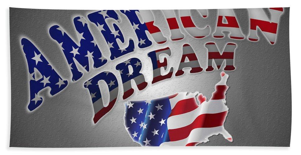 American Dream Hand Towel featuring the painting American Dream Digital Typography Artwork by Georgeta Blanaru