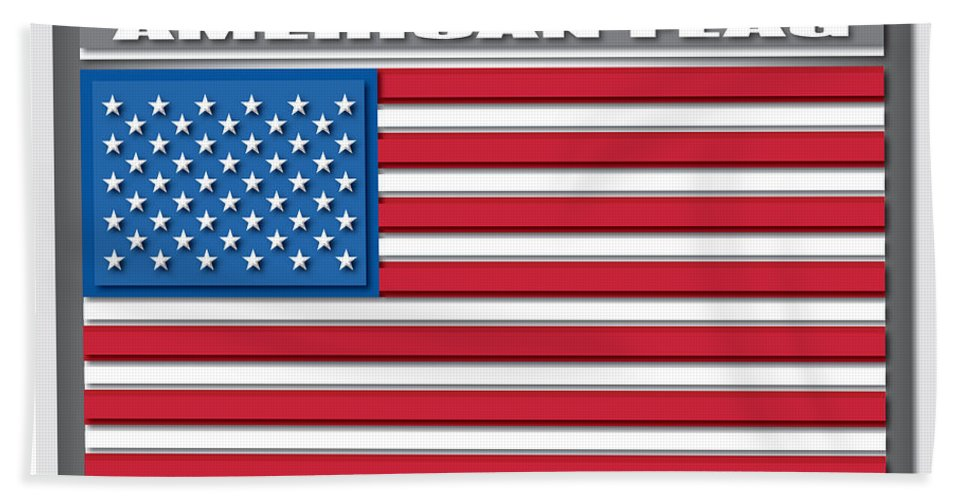 Illustrator American Flag Hand Towel featuring the digital art American Flag by Carlos Monzon
