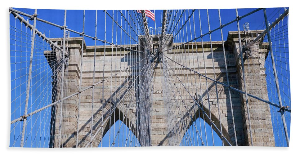 Photography Bath Sheet featuring the photograph American Flag Flying Over Brooklyn by Panoramic Images