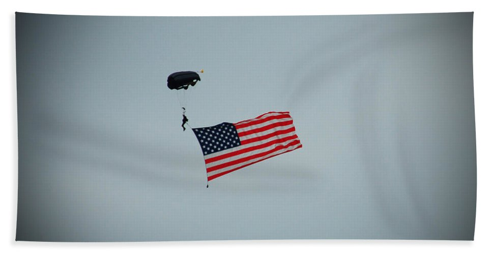 American Bath Sheet featuring the photograph American Flag In The Sky by Aimee L Maher ALM GALLERY