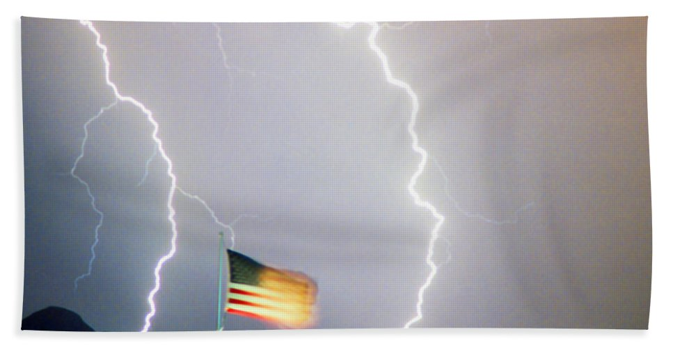 Lightning; Lightening; American Flag; Usa; Americana; Storm; Weather; Nature Hand Towel featuring the photograph American Flag Lightning Strikes by James BO Insogna