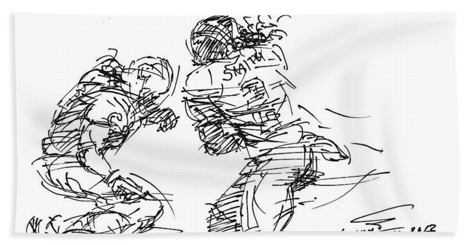 American Football Hand Towel featuring the drawing American Football 1 by Ylli Haruni
