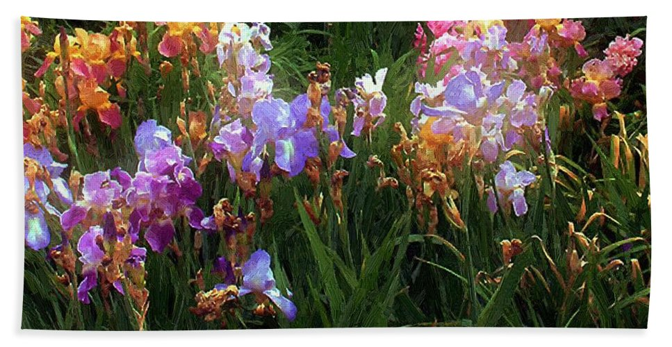 Flowers. Garden Hand Towel featuring the painting American Giverny by RC DeWinter