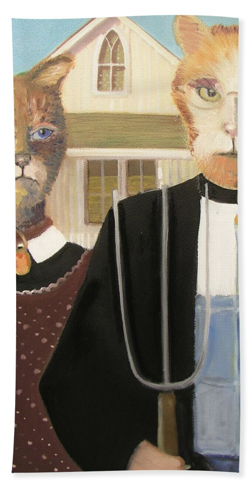 American Gothic Hand Towel featuring the painting American Gothic Cat by Gail Eisenfeld