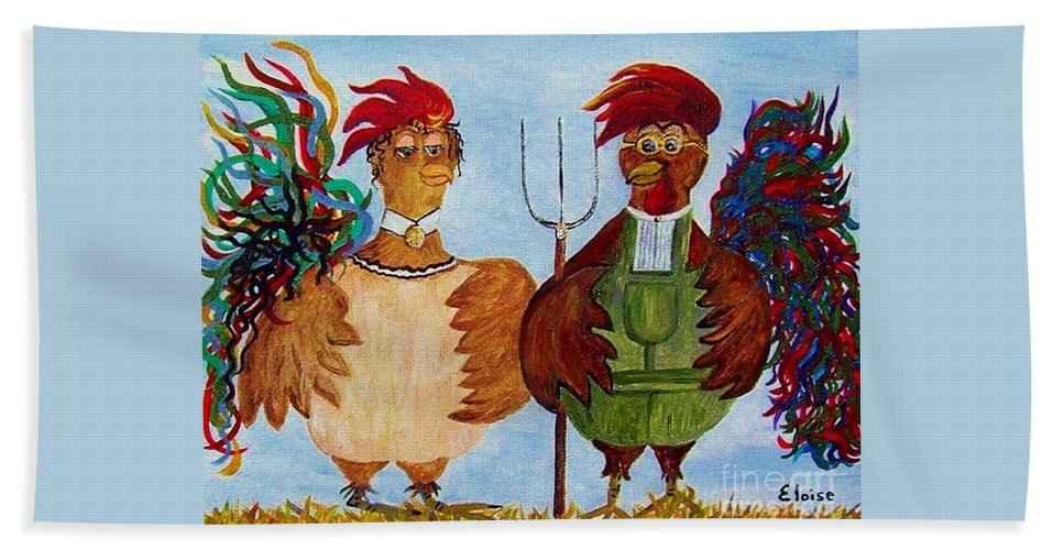 Rooster Hand Towel featuring the painting American Gothic Down On The Farm - A Parody by Eloise Schneider Mote