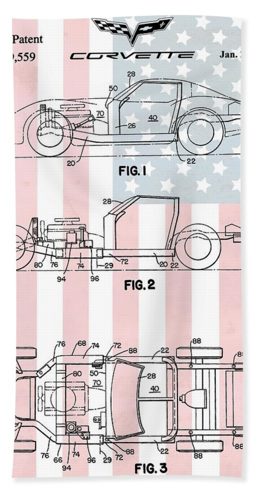 Corvette Patent Hand Towel featuring the digital art American Made Corvette Patent by Dan Sproul