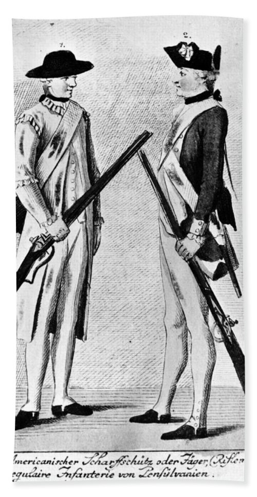 1784 Hand Towel featuring the photograph American Uniforms, 1784 by Granger