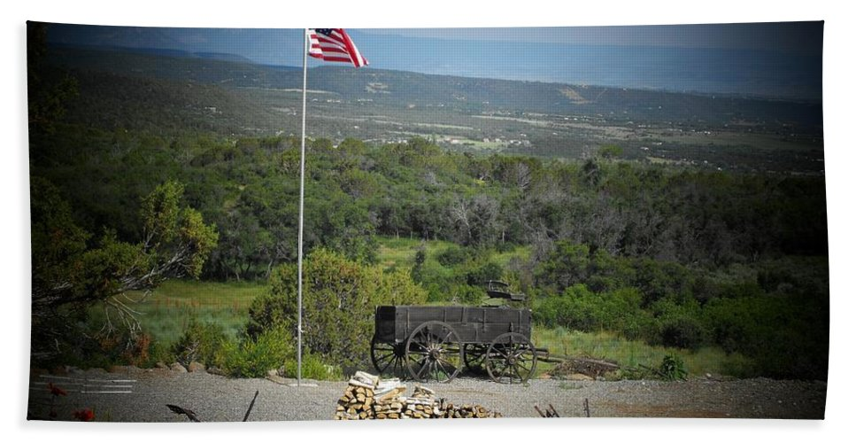 Usa Bath Sheet featuring the photograph American Wagon by Brandi Maher