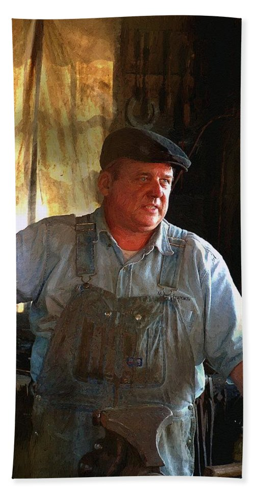 Portrait Bath Sheet featuring the painting American Workingman by RC DeWinter