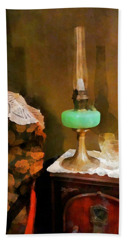 Lamp Hand Towel featuring the photograph Americana - Still Life With Hurricane Lamp by Susan Savad