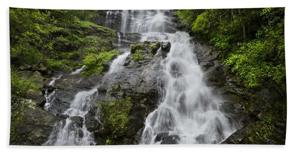 Appalachia Hand Towel featuring the photograph Amicalola Falls by Debra and Dave Vanderlaan