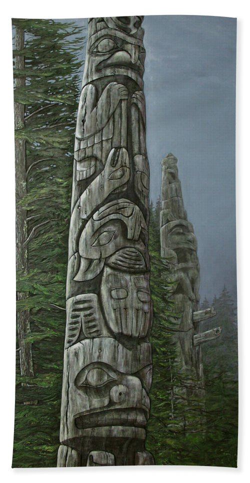 Totems Bath Sheet featuring the relief Amid The Mist - Totems by Elaine Booth-Kallweit
