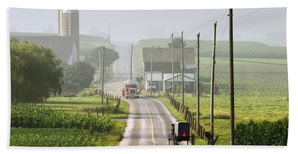 Art Bath Sheet featuring the photograph Amish Buggy Confronts The Modern World by Randall Nyhof